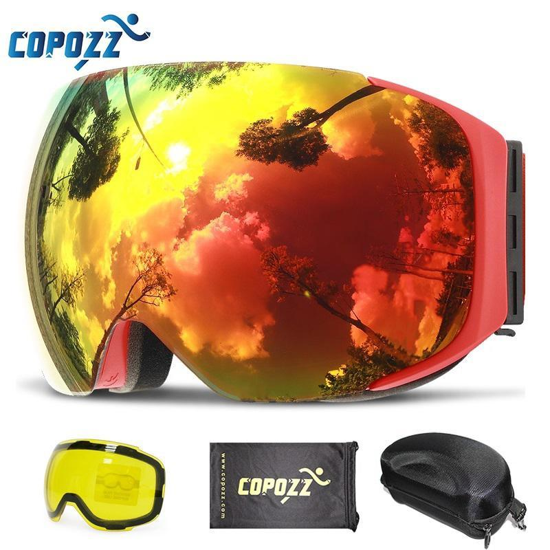 962783dc18ec Copozz Magnetic Ski Goggles With Quick-Change Lens And Case Set 100% Uv400  Protection