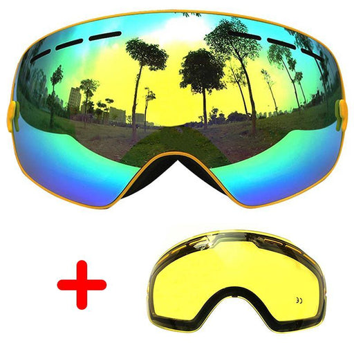 Copozz Ski Goggles Double Lens Anti-Fog Large Glasses Skiing Unisex Snowboard Goggles Spherical Mask-Shooting-ZSL Outdoor Store-Black B-EpicWorldStore.com