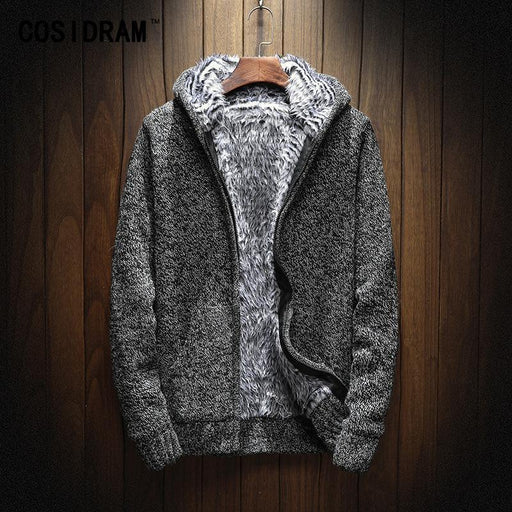 Cosidram Winter Knitting Hoodies Warm Thick Men Sweatshirt Zip Male Hooded Fur Mc-011-Hoodies & Sweatshirts-TRTST Store-Black-M-EpicWorldStore.com