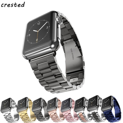 Crested Strap Band For Apple Watch 3 42Mm 38Mm For Iwatch 3 2 1 Stainless Steel Wrist Watch Band-Watch Accessories-Watchband Store-silver-38mm watch band-EpicWorldStore.com