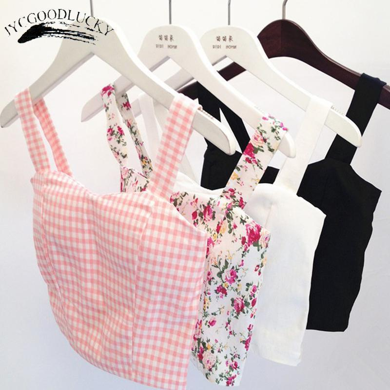 Crop Top Short Cami Tank Top Female Cute Floral Tube Women Tops Dill Black Stylish Cropped Tops-Tops & Tees-JYCGOODLUCKY Store-G tops-EpicWorldStore.com