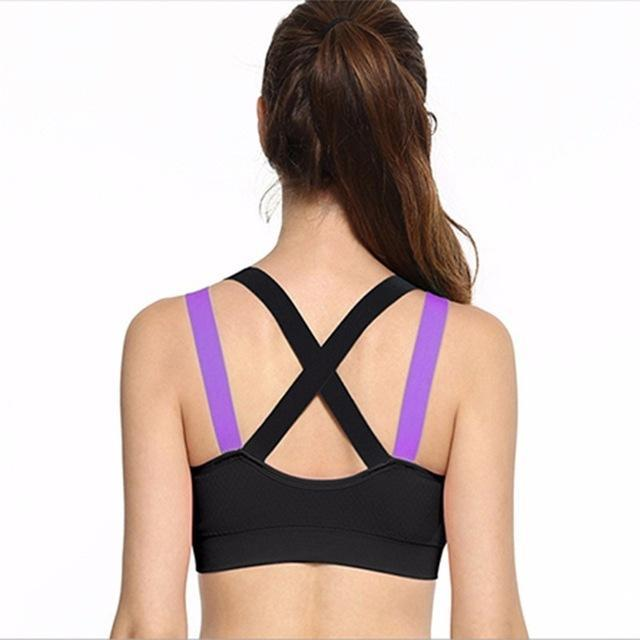 618ca3737f750 Cross Strap Back Women Sports Bra Professional Quick Dry Padded Shockproof  Gym Fitness Running-Sports