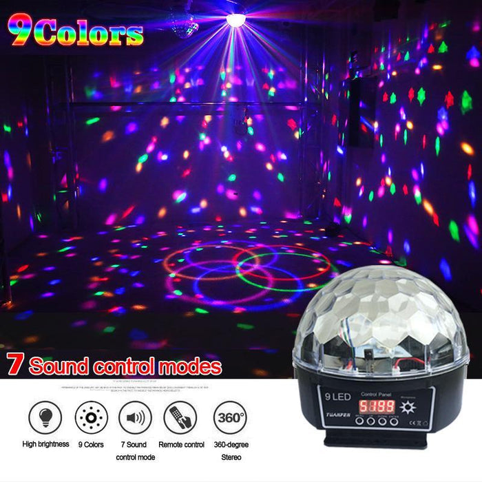 Crystal Magic Ball Led Stage Lamp 7 Sound Control Modes 9 Colors 27W Stage  Lighting Disco