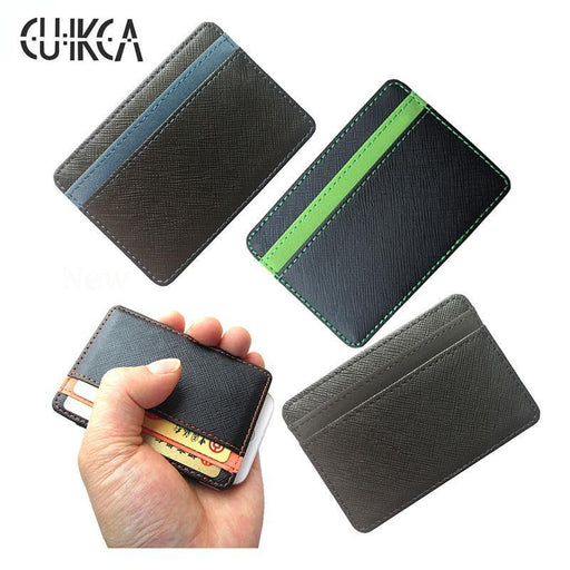 Cuikca Korea High Quality Pu Leather Mini Men Wallet Magic Wallets Men Credit Card-FangGlobalService Store-Black-EpicWorldStore.com