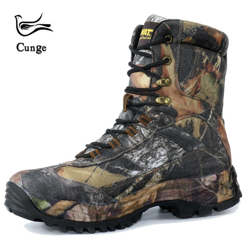 0da43b53e Cunge Tactical Military Combat Hiking Boots Waterproof Hiking Shoes Men  Boots Leather Shoes High Top-