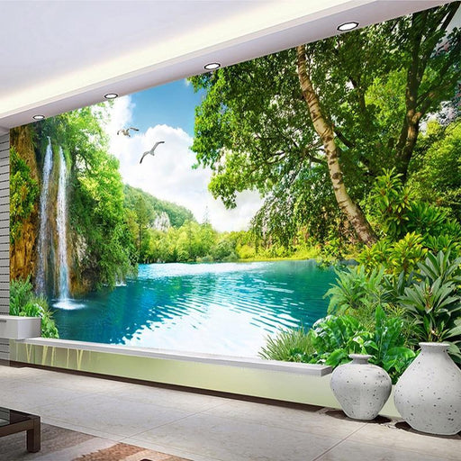 Custom 3D Wall Mural Wallpaper Home Decor Green Mountain Waterfall Nature Landscape 3D Photo Wall-Wallpapers-jiadou -Melin Store-1 ㎡-EpicWorldStore.com
