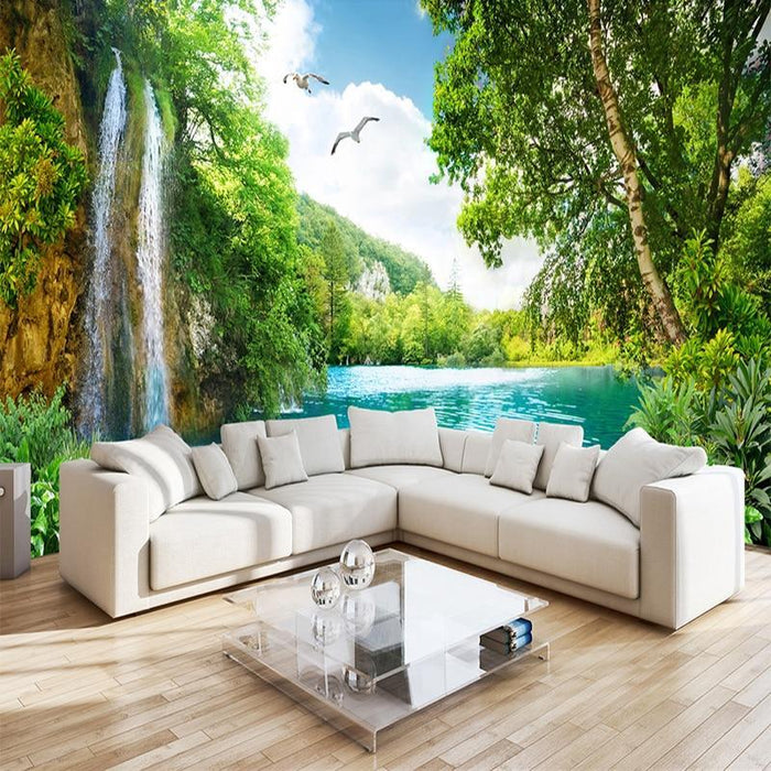 Custom 3d Wall Mural Wallpaper Home Decor Green Mountain Waterfall