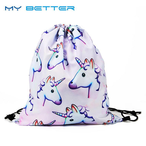 Cute 3D Pink Unicorn Printing School Bags Unicorn Pattern Travel Storage Backpacks Drawstring Bag-Functional Bags-my better Official Store-EpicWorldStore.com