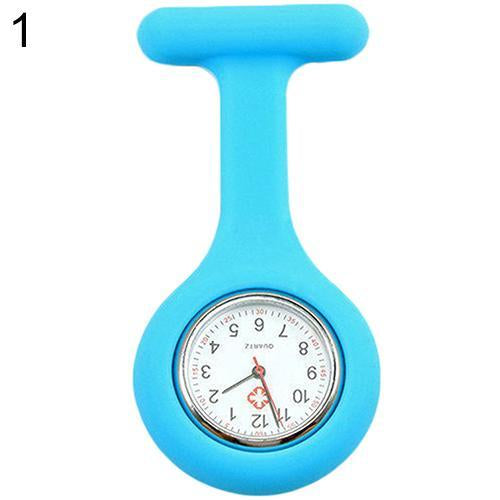Cute Silicone Nurse Watch Brooch Fob Pocket Watch Tunic Quartz Movement Womens Watches-Pocket & Fob Watches-Watch Salon-light blue-EpicWorldStore.com