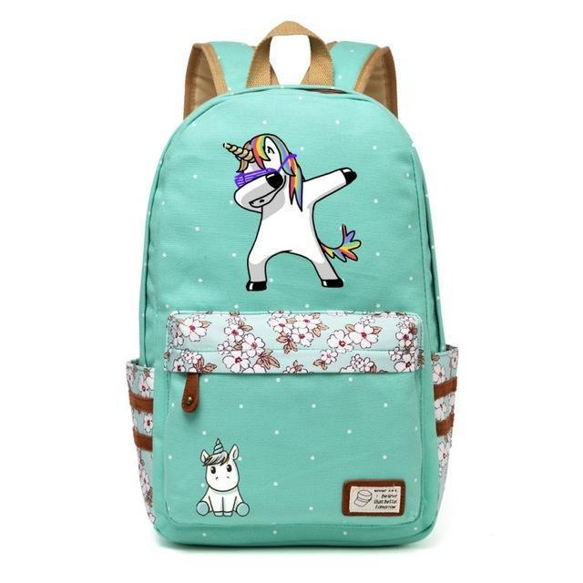 Cute Unicorn Backpack Dab Cartoon For Women Girls Canvas Bag Flowers Rucksacks-Kids & Baby's Bags-High Quality Backpack Store-Green2-EpicWorldStore.com