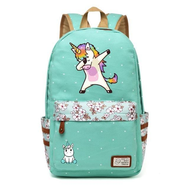 Cute Unicorn Backpack Dab Cartoon For Women Girls Canvas Bag Flowers Rucksacks-Kids & Baby's Bags-High Quality Backpack Store-Green4-EpicWorldStore.com