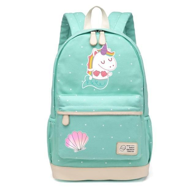 Cute Unicorn Backpack Dab Cartoon For Women Girls Canvas Bag Flowers Rucksacks-Kids & Baby's Bags-High Quality Backpack Store-Mermaid-EpicWorldStore.com
