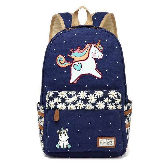 Cute Unicorn Backpack Dab Cartoon For Women Girls Canvas Bag Flowers Rucksacks-Kids & Baby's Bags-High Quality Backpack Store-Navy Blue1-EpicWorldStore.com