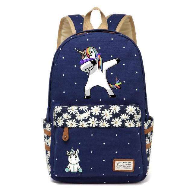 Cute Unicorn Backpack Dab Cartoon For Women Girls Canvas Bag Flowers Rucksacks-Kids & Baby's Bags-High Quality Backpack Store-Navy Blue2-EpicWorldStore.com