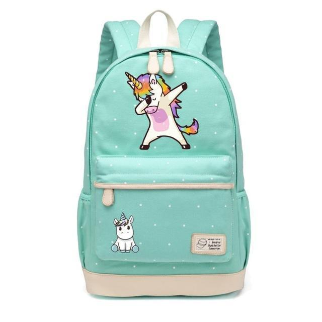 Cute Unicorn Backpack Dab Cartoon For Women Girls Canvas Bag Flowers Rucksacks-Kids & Baby's Bags-High Quality Backpack Store-NEW Green2-EpicWorldStore.com