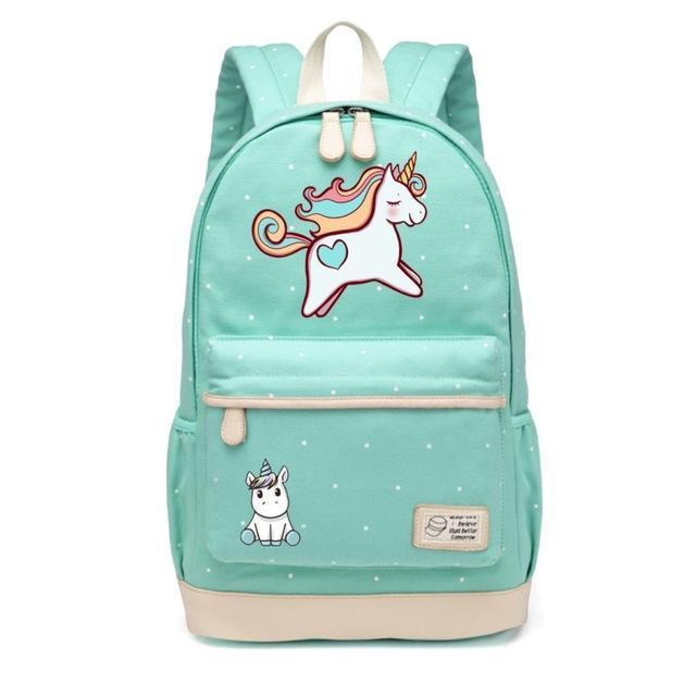 Cute Unicorn Backpack Dab Cartoon For Women Girls Canvas Bag Flowers Rucksacks-Kids & Baby's Bags-High Quality Backpack Store-NEW Green3-EpicWorldStore.com