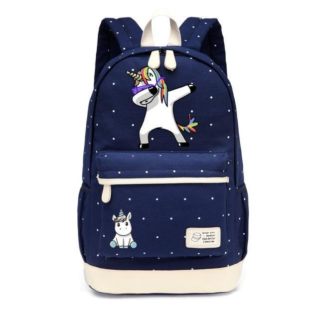 Cute Unicorn Backpack Dab Cartoon For Women Girls Canvas Bag Flowers Rucksacks-Kids & Baby's Bags-High Quality Backpack Store-NEW Navy Blue1-EpicWorldStore.com
