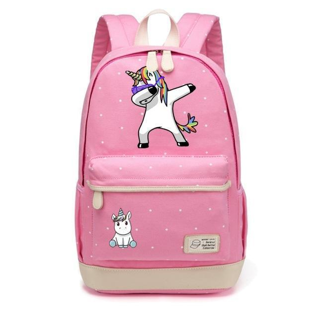 Cute Unicorn Backpack Dab Cartoon For Women Girls Canvas Bag Flowers Rucksacks-Kids & Baby's Bags-High Quality Backpack Store-Pink1-EpicWorldStore.com