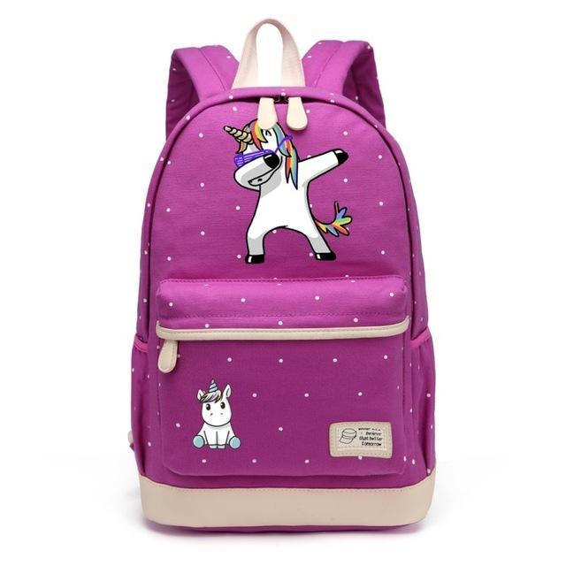 Cute Unicorn Backpack Dab Cartoon For Women Girls Canvas Bag Flowers Rucksacks-Kids & Baby's Bags-High Quality Backpack Store-Purple1-EpicWorldStore.com