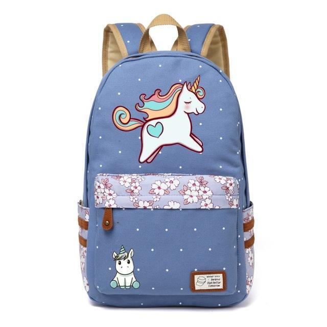 Cute Unicorn Backpack Dab Cartoon For Women Girls Canvas Bag Flowers Rucksacks-Kids & Baby's Bags-High Quality Backpack Store-Wathet Blue1-EpicWorldStore.com
