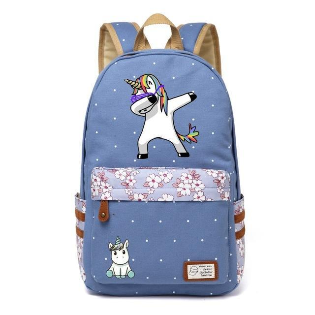 Cute Unicorn Backpack Dab Cartoon For Women Girls Canvas Bag Flowers Rucksacks-Kids & Baby's Bags-High Quality Backpack Store-Wathet Blue2-EpicWorldStore.com