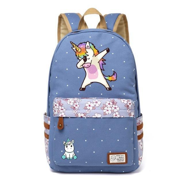 Cute Unicorn Backpack Dab Cartoon For Women Girls Canvas Bag Flowers Rucksacks-Kids & Baby's Bags-High Quality Backpack Store-Wathet Blue4-EpicWorldStore.com