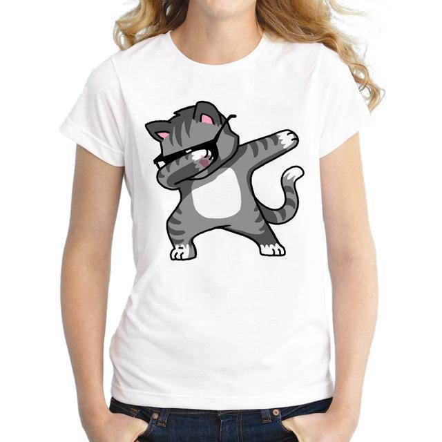 Dabbing Unicorn T-Shirt Women T Shirt Short Sleeve T-Shirts O-Neck Tops Panda/Pug Cat-Tops & Tees-Shop2980020 Store-2-S-EpicWorldStore.com