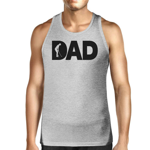 Dad Golf Mens Grey Sleeveless Tee Funny Design Tank For Golf Lovers-Apparel & Accessories-365 Printing-X-LARGE-EpicWorldStore.com