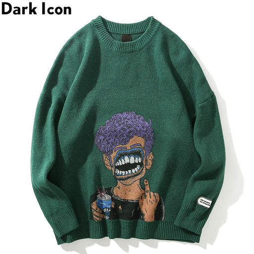 Dark Icon Printing Ripped Mens Sweater Round Neck Oversized Sweaters For Men Streetwear Cloting-Pullovers-Hanchao Store-green sweater-M-EpicWorldStore.com