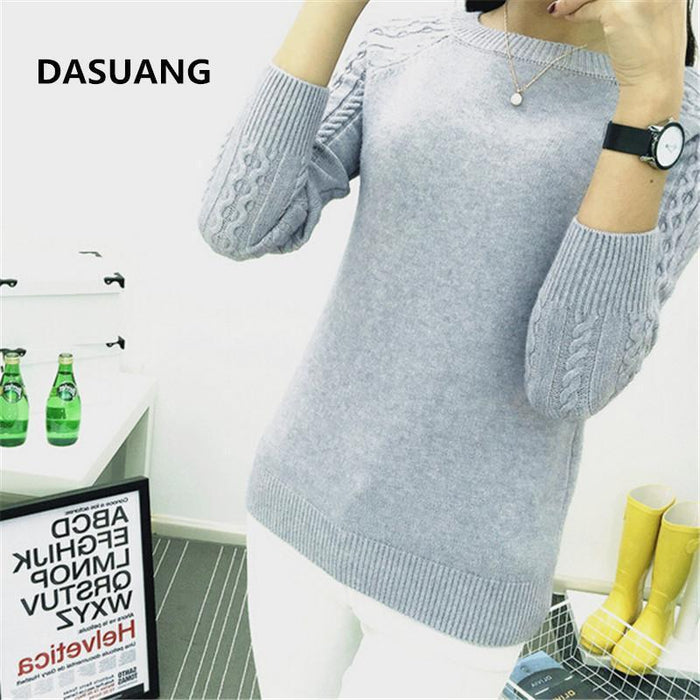 Dasuang Sweaters Women Winter O-Neck Long Sleeve Pullovers Knitted Sweater Female Warm Tops-Sweaters-DASUANG Excellents Store-Beige-S-EpicWorldStore.com