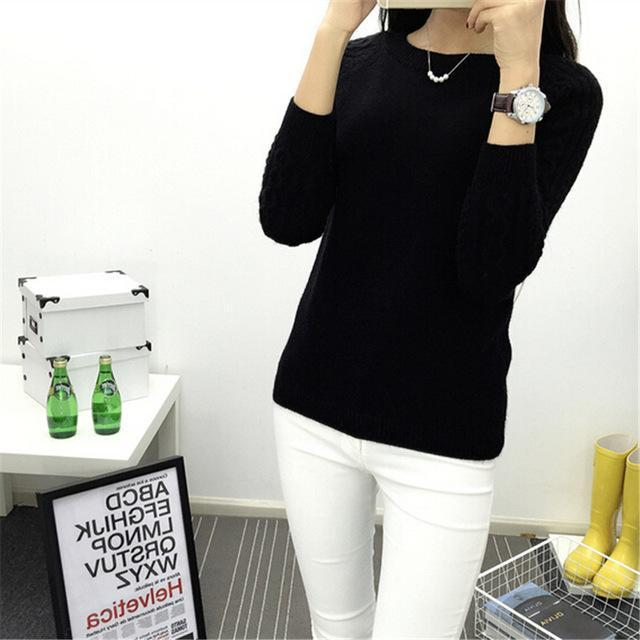 Dasuang Sweaters Women Winter O-Neck Long Sleeve Pullovers Knitted Sweater Female Warm Tops-Sweaters-DASUANG Excellents Store-Black-S-EpicWorldStore.com