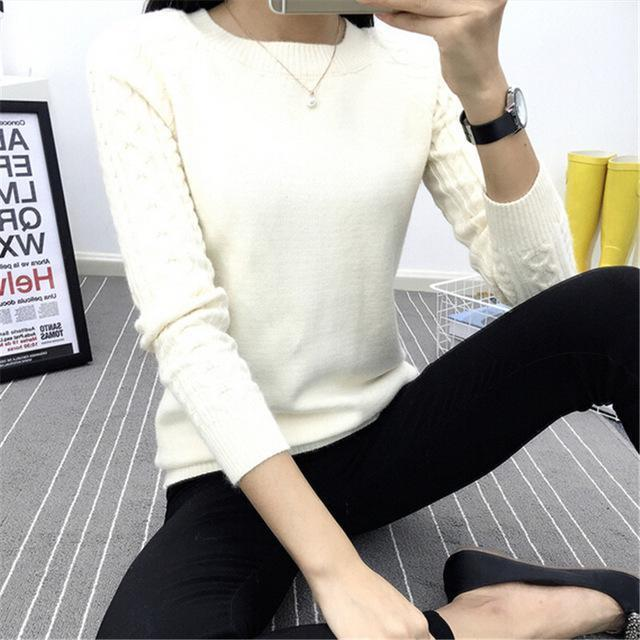 Dasuang Sweaters Women Winter O-Neck Long Sleeve Pullovers Knitted Sweater Female Warm Tops-Sweaters-DASUANG Excellents Store-Ivory-S-EpicWorldStore.com