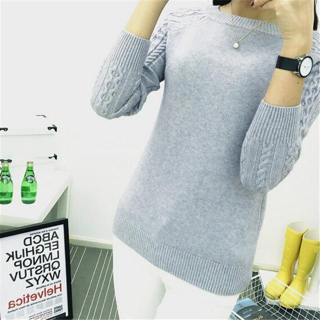 Dasuang Sweaters Women Winter O-Neck Long Sleeve Pullovers Knitted Sweater Female Warm Tops-Sweaters-DASUANG Excellents Store-Khaki-S-EpicWorldStore.com