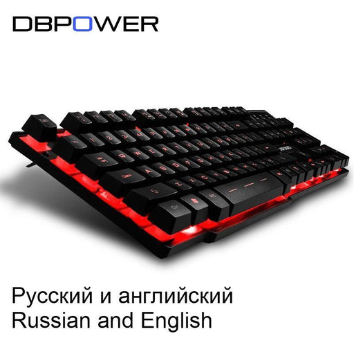 Dbpower Russian / English 3 Color Backlight Gaming Keyboard Teclado Gamer Floating Led Backlit Usb-Computer Peripherals-DBPOWER Gaming Store-English with Mouse-EpicWorldStore.com