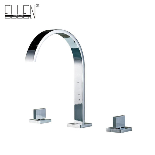 Deck Mounted Double Handle Bathroom Sink Mixer Crane Hot And Cold Water Taps 3 Pieces Square-Basin Faucets-ELLEN HOMEDECOR Official Store-EpicWorldStore.com