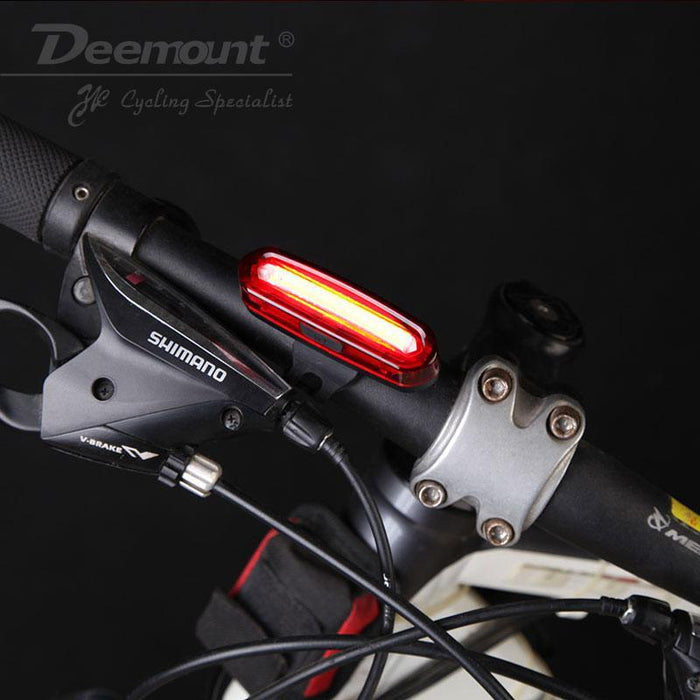 LED USB Rechargeable COB Bike Tail Light Bicycle Safe Cycling Warning Rear Lamp