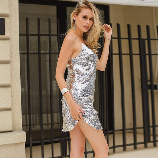 Deep V Neck Autumn Silver Sequined Backless Stylish Dress Women Off Shoulder Mini Dress Christmas-Dresses-CONMOTO Official Store-S-EpicWorldStore.com