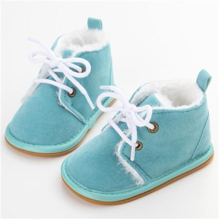 Delebao Cotton Shallow Baby Shoes Lace Up Solid For Autumn Winter