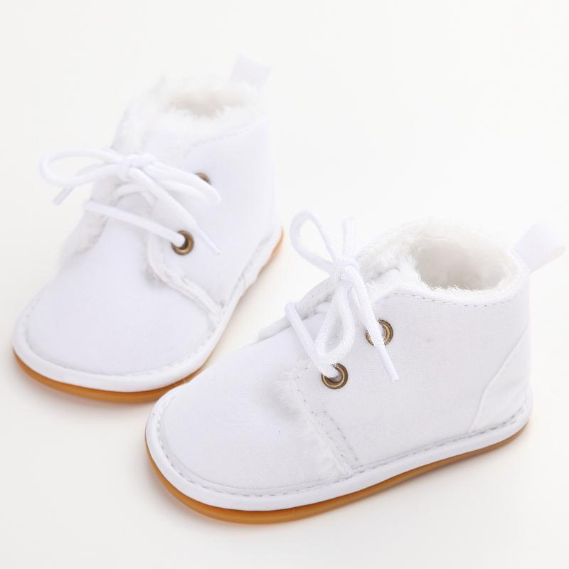 92b2868bb529 Delebao Cotton Shallow Baby Shoes Lace-Up Solid For Autumn Winter Warm Baby  Girl Shoes