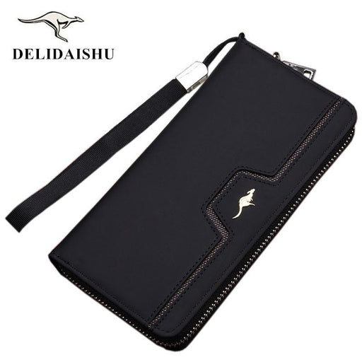 Designer Men Wallets Famous Brand Kangaroo Men Long Wallet Clutch Male Wrist Strap Wallet Big-Baellerry Speciality Store-001 Black-EpicWorldStore.com