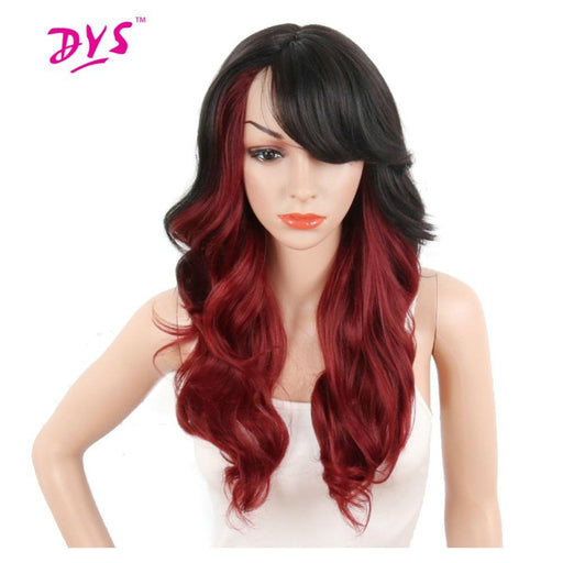 Deyngs Ombre Red/Blonde Synthetic Wigs For Black Women Long Body Wave Wigs With Bangs Hair High-DeYngs Hair Store-T1B/27-EpicWorldStore.com