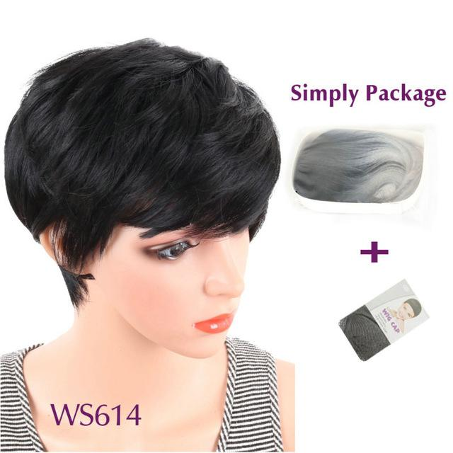 Deyngs Short Straight Synthetic Wigs Pixie Cut Natural Hair Wig With