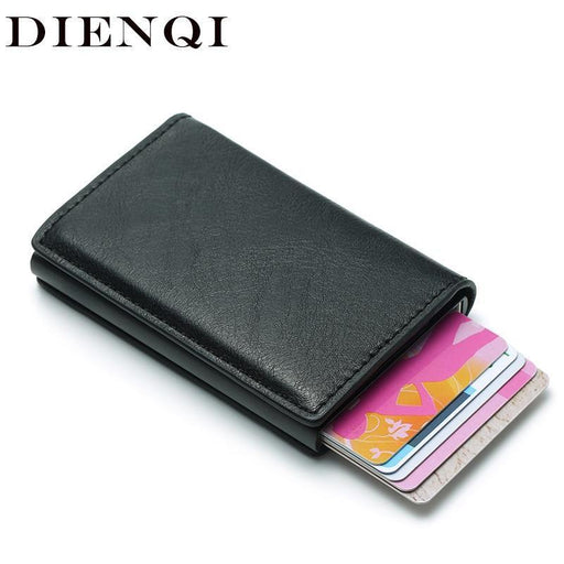 Dienqi Rfid Card Holder Men Wallets Money Bag Male Vintage Black Short Purse Small Leather-Wallets-DIENQI Factory Store-Black-EpicWorldStore.com