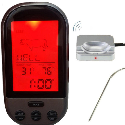 Digital Bbq Thermometer Wireless Kitchen Oven Food Cooking Grill Smoker Meat Thermometer With-Household Merchandises-TEPMOMETP Official Store-RED with 2 Probes-EpicWorldStore.com