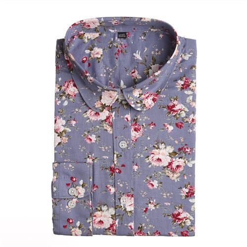 Dioufond New Floral Long Sleeve Vintage Blouse Cherry Turn Down Collar Shirt Blusas Feminino-Blouses & Shirts-Dioufond Official Store-cow blue-S-EpicWorldStore.com