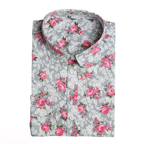 Dioufond New Floral Long Sleeve Vintage Blouse Cherry Turn Down Collar Shirt Blusas Feminino-Blouses & Shirts-Dioufond Official Store-gray rose-S-EpicWorldStore.com