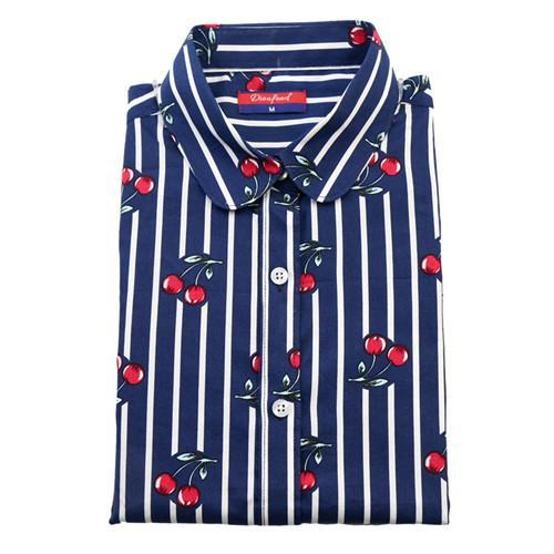 Dioufond New Floral Long Sleeve Vintage Blouse Cherry Turn Down Collar Shirt Blusas Feminino-Blouses & Shirts-Dioufond Official Store-navy-S-EpicWorldStore.com