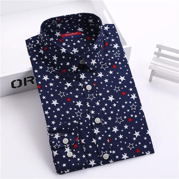 Dioufond New Floral Long Sleeve Vintage Blouse Cherry Turn Down Collar Shirt Blusas Feminino-Blouses & Shirts-Dioufond Official Store-navy star-S-EpicWorldStore.com