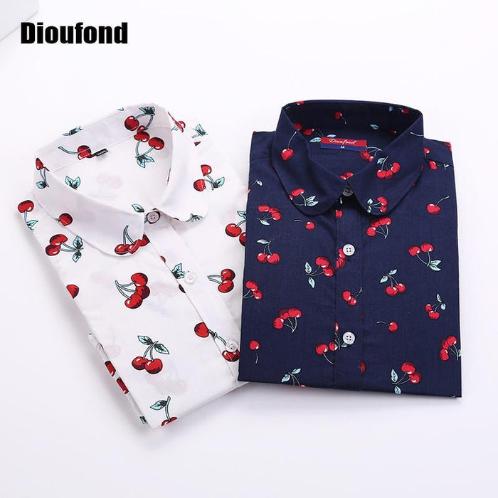 Dioufond New Floral Long Sleeve Vintage Blouse Cherry Turn Down Collar Shirt Blusas Feminino-Blouses & Shirts-Dioufond Official Store-stricherry-S-EpicWorldStore.com
