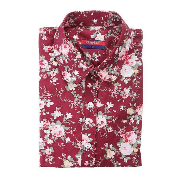 Dioufond New Floral Long Sleeve Vintage Blouse Cherry Turn Down Collar Shirt Blusas Feminino-Blouses & Shirts-Dioufond Official Store-wine floral-S-EpicWorldStore.com